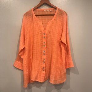 Soft Surroundings Coral Linen Blend Shirt